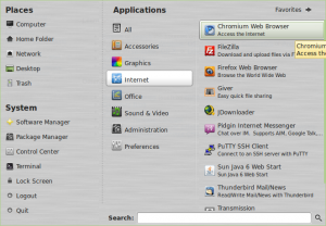 Chromium browser after installation in Linux Mint