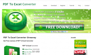 PDF To Excel Converter giveaway page