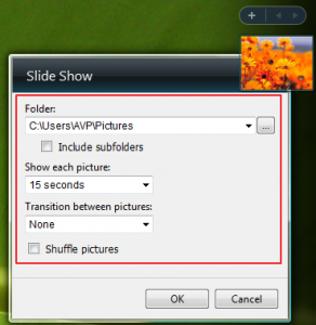 Various settings for Slide Show gadget