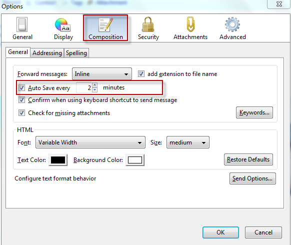 How To Change Auto Save Interval In Mozilla Thunderbird - I