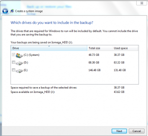 Selecting the system drives to be included in making the Windows 7 system image