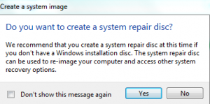 Option of whether to create a system repair disc
