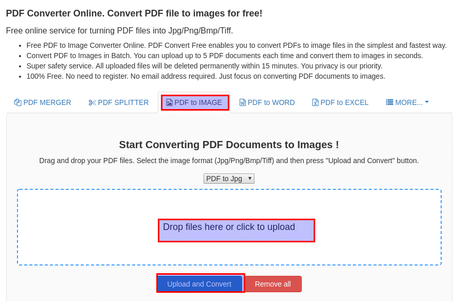 PDFConvertFree - Online converter from PDF to images
